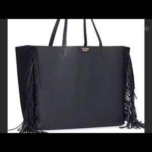 Victoria secret Black photo leather fringe tote